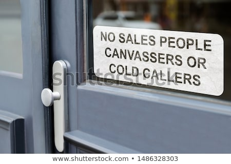 no salespeople cold callers or canvassers sing on door stock photo © andreypopov