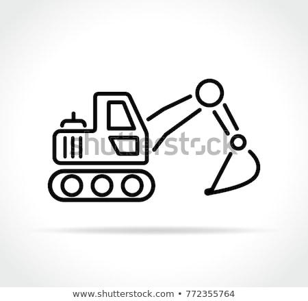Excavadora icono coche edificio construcción fondo Foto stock © Mark01987