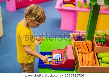Fiú pénztárgép pénzügyi műveltség gyerekek baba Stock fotó © galitskaya