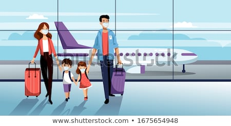 travelers in airport family in terminal vector stock photo © robuart