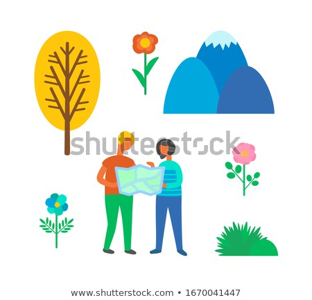 Camping Couple Using Map to Find Way Isolated Stock photo © robuart