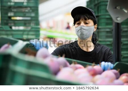Operário de fábrica em pé linha sorridente desenho animado homem Foto stock © jossdiim