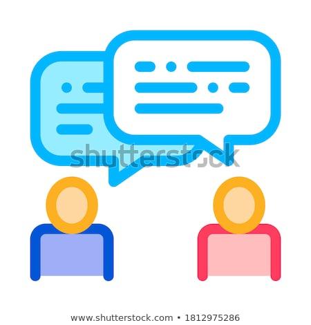 Emberi sziluettek beszél agilis alkotóelem vektor Stock fotó © pikepicture