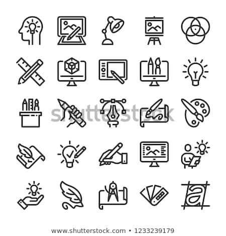 icons of art tools pen pencil and brush stock photo © loopall
