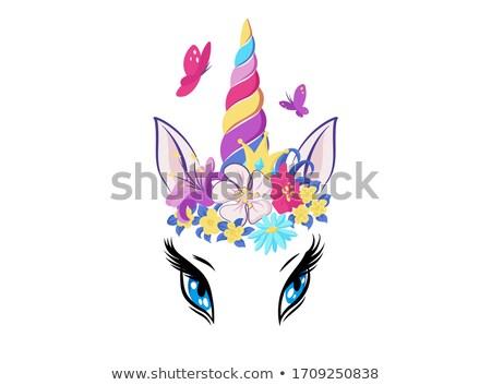 Magie kleurrijk hoorn icon meisje Stockfoto © MarySan