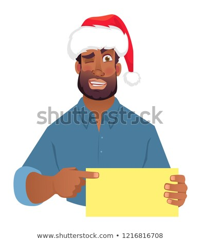 Naughty man showing blank signboard. Stock photo © lichtmeister