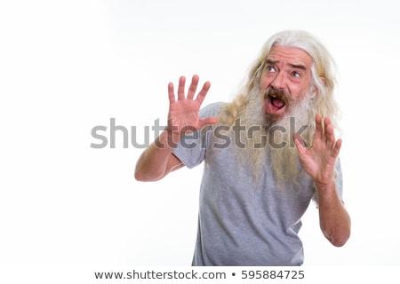 Bange man tonen stoppen beide handen Stockfoto © lichtmeister