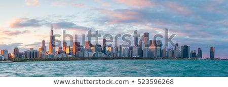 Chicago · városkép · feketefehér · illusztráció · panoráma · fekete - stock fotó © mark01987