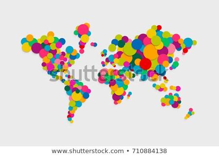 красочный · низкий · Мир · карта · геометрический · аннотация · иллюстрация - Сток-фото © cienpies