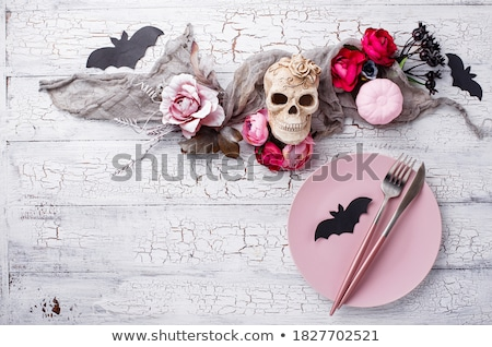halloween black and pink table setting stock photo © furmanphoto