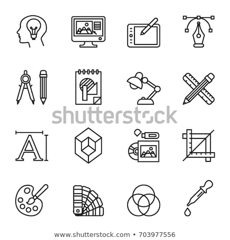 Graphic Design Tablet with Pencil and Colors Icon Stock photo © robuart