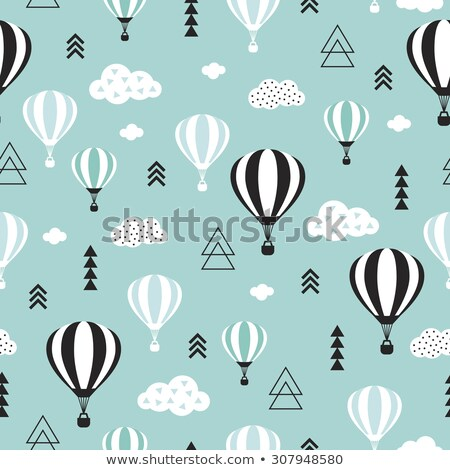 Hot Air Balloon Seamless Repeating Pattern Isolated Vector Illustration Stock photo © jeff_hobrath