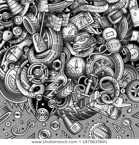 Karikatür karalamalar sanat kart tek renkli ayrıntılı Stok fotoğraf © balabolka