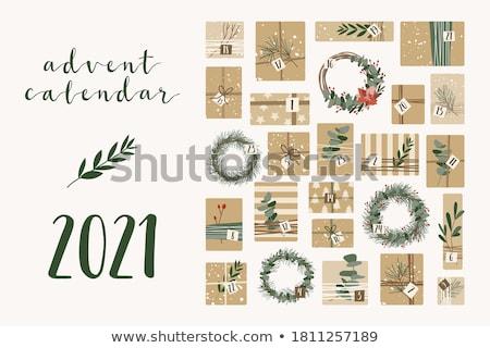 Advent naptár koszorú gyertyák fából készült terv Stock fotó © grafvision