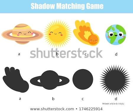 matching shapes game with cartoon planet characters Stock photo © izakowski