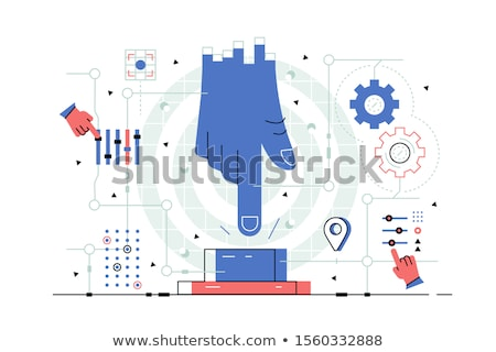 Stockfoto: Optie · Blauw · hand · touch