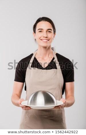 Szczęśliwy młodych brunetka kelnerka przygotowany Zdjęcia stock © pressmaster