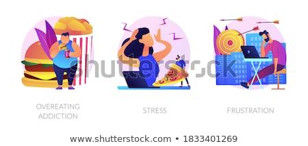 Overeten verslaving te zwaar man eten hamburger Stockfoto © RAStudio