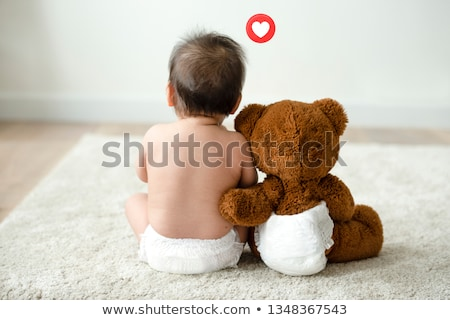 baby with diaper and teddy bear Stock photo © adrenalina