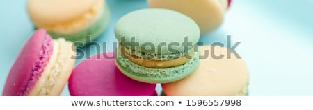Сток-фото: French Macaroons On Blue Background Parisian Chic Cafe Dessert