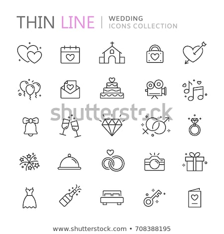 Coeur mariage léger ligne vecteur Photo stock © pikepicture