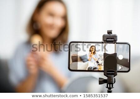Schoonheid blogger video masker huid schoonmaken Stockfoto © Elnur