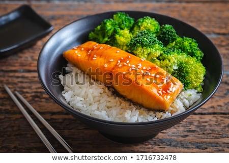 Teriyaki lazac grillezett filé finom mártás Stock fotó © Alex9500