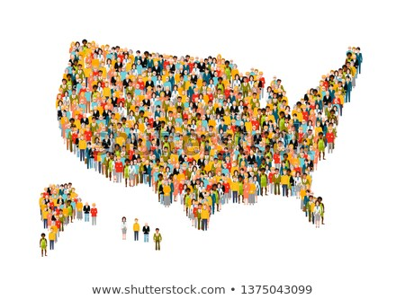 International group of peoples from different social status stand in USA map silhouette isolated on  Stock photo © evgeny89