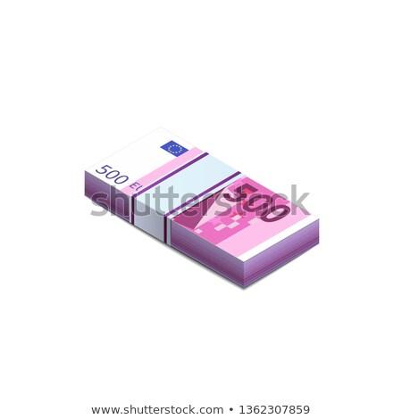 Fényes ötven Euro bankjegyek boglya izometrikus Stock fotó © evgeny89
