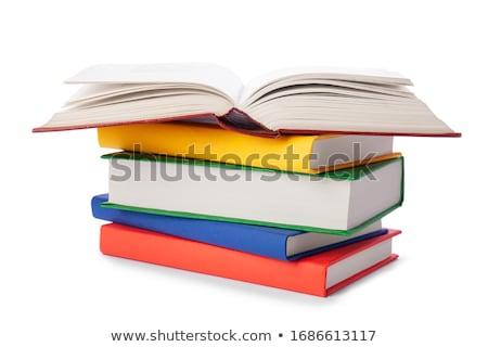 Halom különböző színes tankönyvek izolált fehér Stock fotó © evgeny89