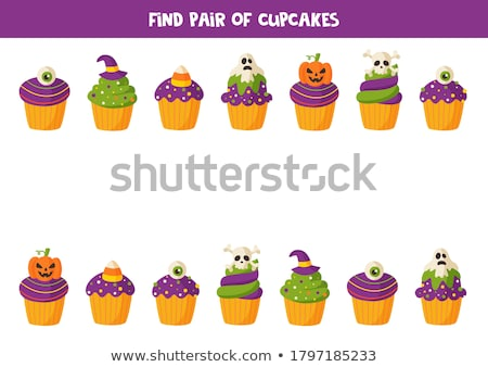 Matching game. Educational children activity with Halloween cupcakes Stock photo © natali_brill