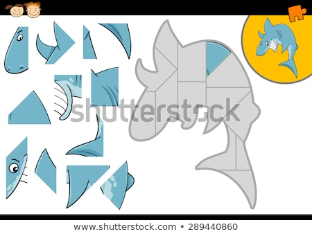 Cartoon Education Jigsaw Puzzle Game for Preschool Children with Funny Shark Stock photo © natali_brill