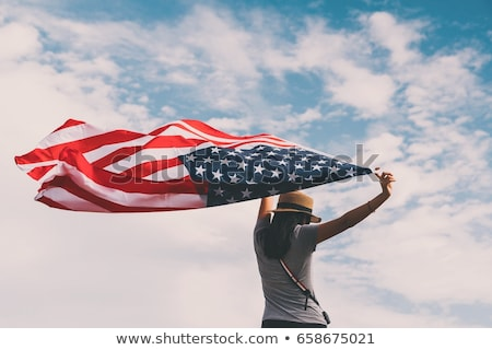 Szczęśliwy asian kobieta amerykańską flagę obywatelstwo Zdjęcia stock © dolgachov