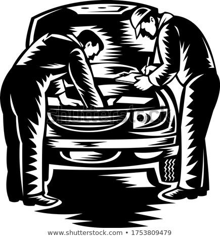 Autóipari szerelő autó szolgáltatás javítás feketefehér Stock fotó © patrimonio