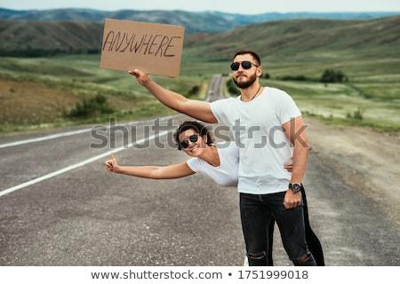 Hitch hiking woman Stock photo © iko