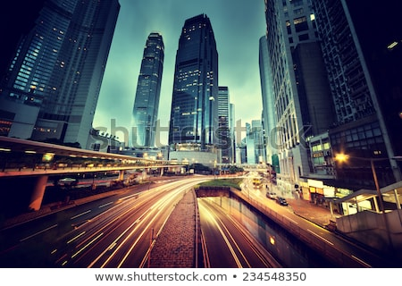 embouteillage · Hong-Kong · nuit · fond · autoroute · urbaine - photo stock © cozyta