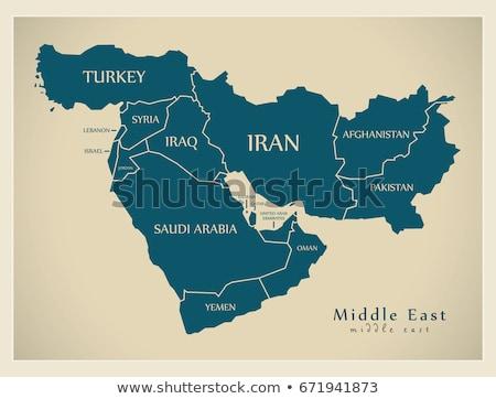 Irak İran harita seçici odak Bağdat şehir Stok fotoğraf © ldambies