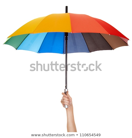 woman holding rainbow umbrella stock photo © smithore
