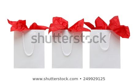 Rood · papier · boodschappentas · geïsoleerd · winkelen · witte - stockfoto © elenaphoto
