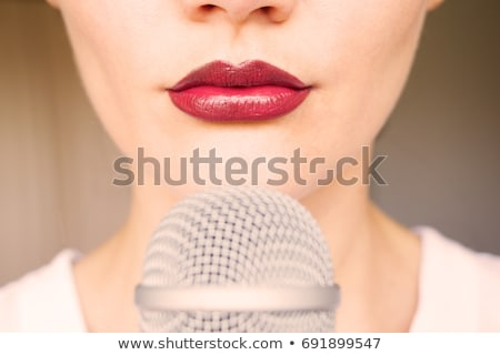 red lips and microphone stock photo © stryjek