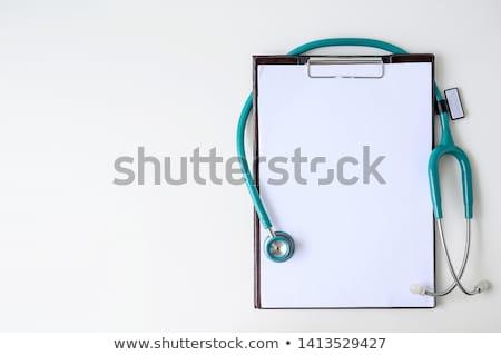 буфер обмена стетоскоп синий стали изолированный врач Сток-фото © JohanH