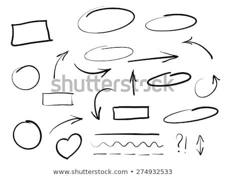 手工繪製 插圖 集 素描 簽署 郵票 商業照片 © vectomart