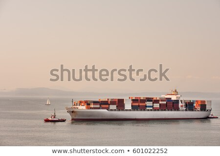 Stock fotó: Container Ship On Puget Sound Seattle Washington