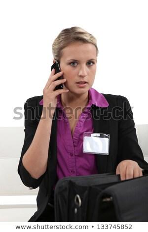 女性実業家 着用 訪問者 バッジ スーツ 小さな ストックフォト © photography33