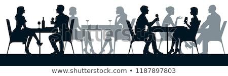 silueta · Pareja · Servicio · sesión · hombre · café - foto stock © vg