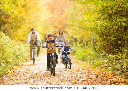 Família bicicleta ensolarado floresta bicicletas Foto stock © pekour