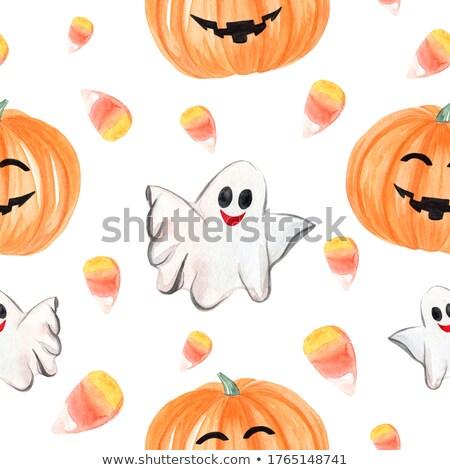 бесшовный Хэллоуин шаблон Призраки конфеты Сток-фото © AnnaVolkova