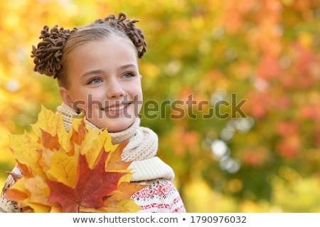 little girl in autumn park stock photo © anna_om
