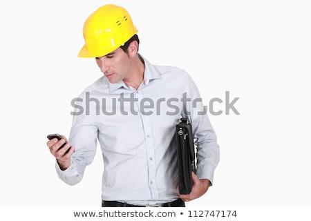 бизнесмен · портфель · мобильных · служба · портрет · ходьбе - Сток-фото © photography33