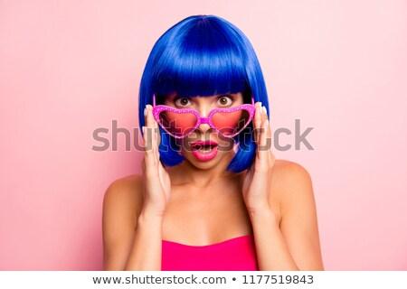 驚いた · 少女 · 黒 · かつら · 肖像 · 面白い - ストックフォト © acidgrey